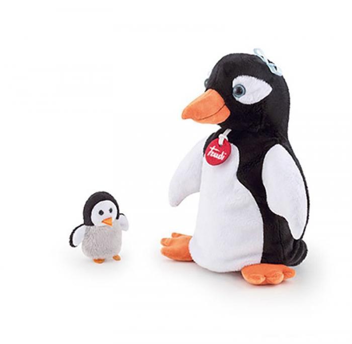 Handpop pinguïn met vingerpopje baby pinguïn