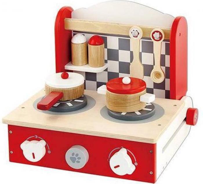 Viga Toys inklapbaar tafelfornuis met toebehoren